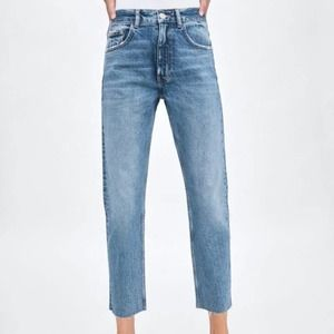 Zara Denim Collection High Rise Straight Leg Button Fly Jeans